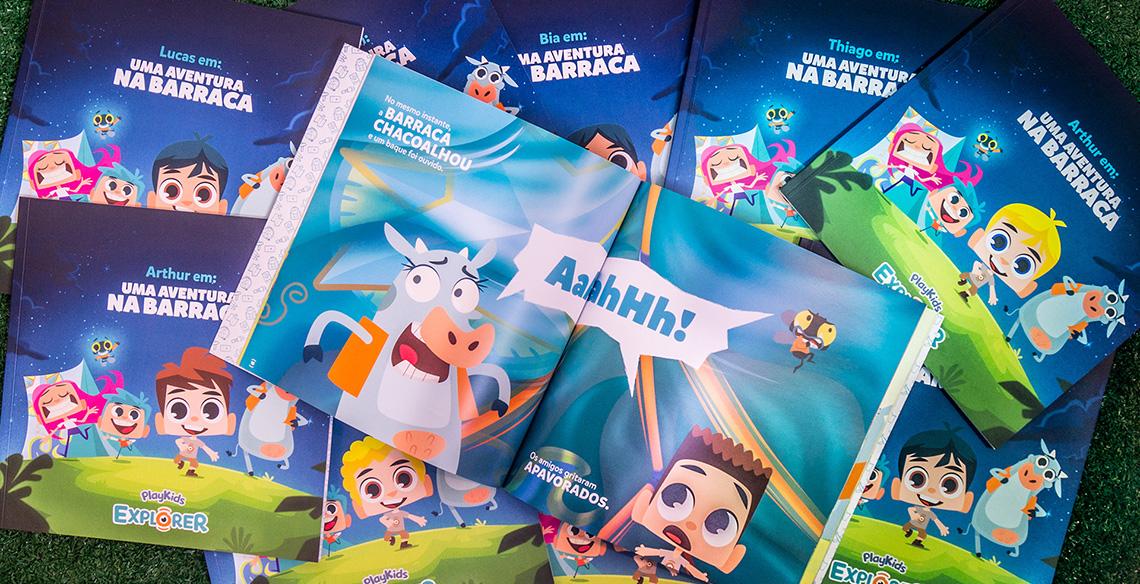 Livro Personalizado com personagem da criança dentro da história do PlayKids Explorer.