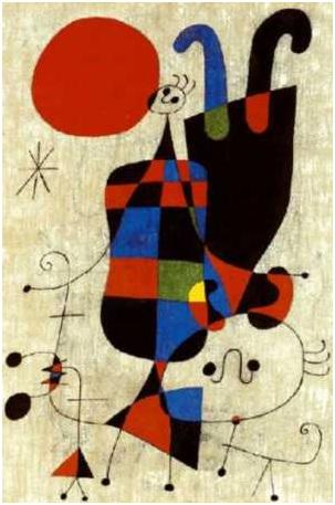 Miró - Personagens e cachorro diante do sol, 1949