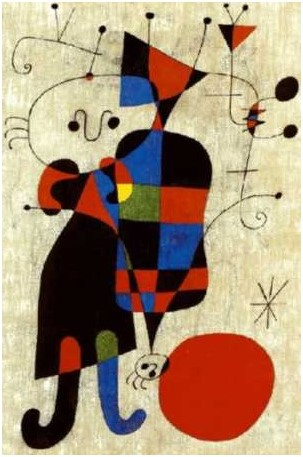 Miró - Personagens e cachorro diante do sol, 1949 - Copia